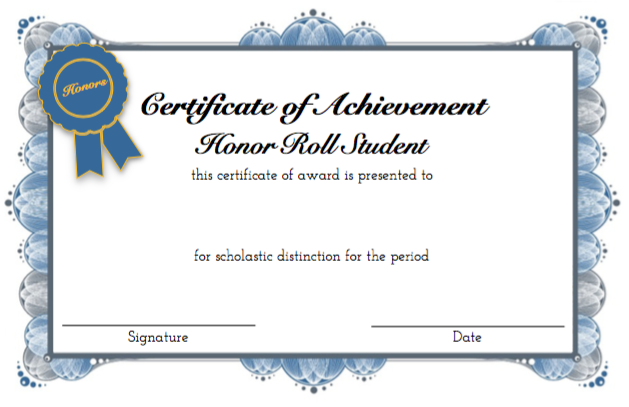 Student Honor Roll and Achievement Award Certificates – Coastal ...